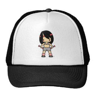 Cute girl in exercise gear cap