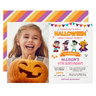 Cute Girl Kids Halloween Birthday Party Photo Card