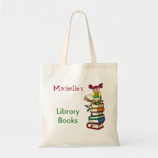 Cute Girl Library Book Bag Custom Name