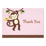 Cute Girl Monkey Jungle Flat Thank You Note Cards 13 Cm X 18 Cm Invitation Card