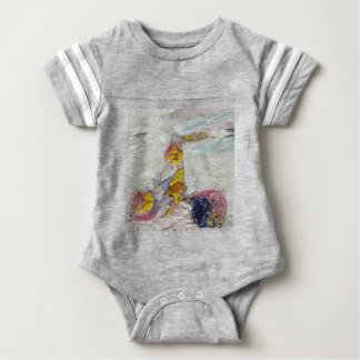 Cute Girl on a Bike original artwork Baby Bodysuit