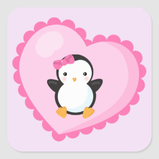 Cute Girl Penguin in Big Light Pink Heart Square Sticker