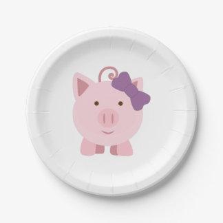 Cute Girl Pig Paper Plate