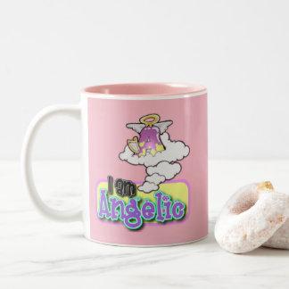 Cute Girl Pink Angel Monogram Mug Initial Letter A