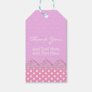 Cute Girl Pink Lace Polka Dot Birthday Baby Shower