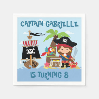 Cute Girl Pirate Paper Napkins