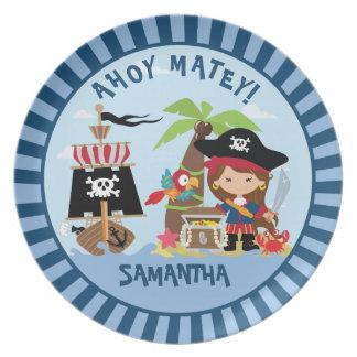 Cute Girl Pirate Plate