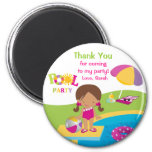 Cute Girl Pool Party Thank You Magnet Fridge Magnets