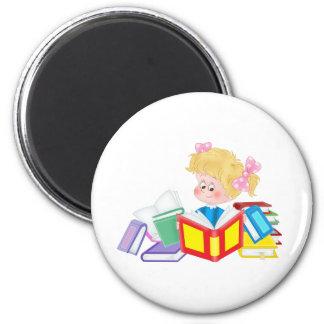 cute girl reading magnet