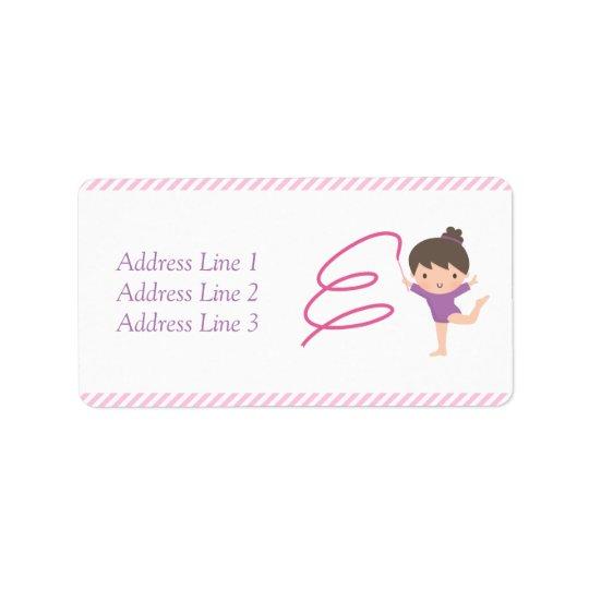 Cute Girl Ribbon Gymnastics Kids Birthday Party Label