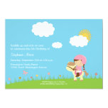 Cute girl riding a horse birthday party invitation