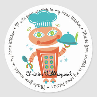 Cute girl robot chef food service catering cooking round sticker