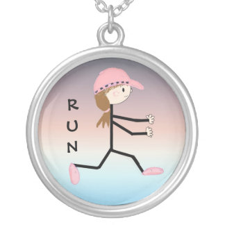 Cute Girl Runner Silver Plated Necklace