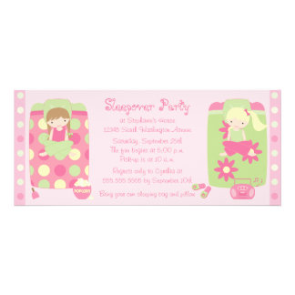 Cute girl s flower dots sleepover party invitation