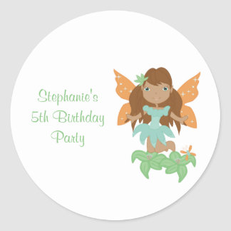 Cute girl s flying fairy birthday party stickers