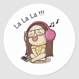 Cute Girl Singing Sticker