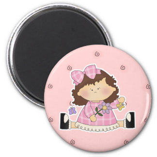 Cute Girl Sitting with Flower and Butterflies Fridge Magnets