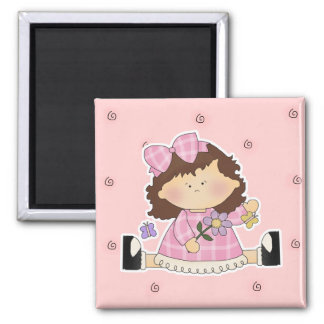Cute Girl Sitting with Flower and Butterflies Square Magnet