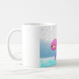 Cute Girl Skating on the frozen pond Coffee Mug