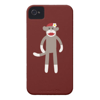 Cute Girl Sock Monkey on Red Case-Mate iPhone 4 Cases