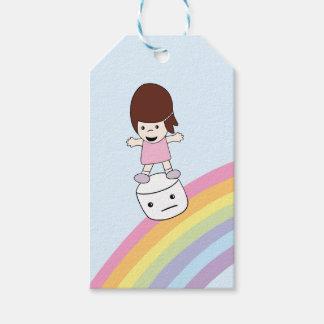 Cute Girl Surfs Rainbow on Marshmallow Gift Tag