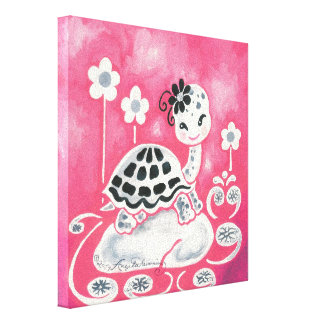 Cute Girl Turtle With Flowers And Swirls Stretched Canvas Prints