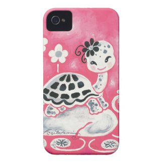 Cute Girl Turtle With Flowers And Swirls iPhone 4 Cases