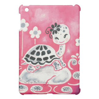 Cute Girl Turtle With Flowers And Swirls Case For The iPad Mini