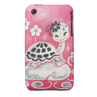 Cute Girl Turtle With Flowers And Swirls iPhone 3 Covers