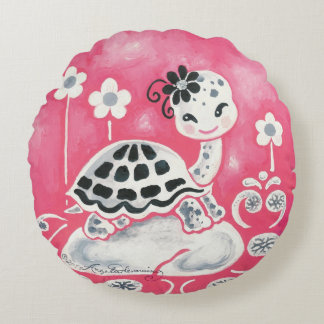 Cute Girl Turtle With Flowers And Swirls Round Pillow