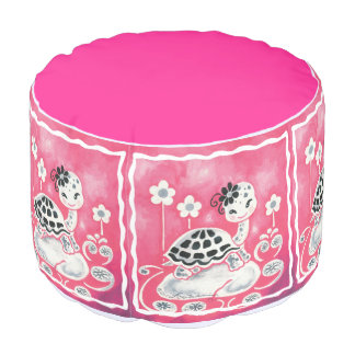 Cute Girl Turtle With Flowers And Swirls Round Pouf