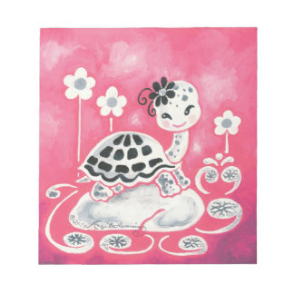 Cute Girl Turtle With Flowers And Swirls Memo Notepads