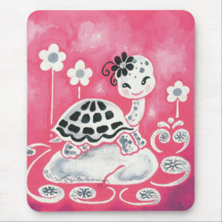 Cute Girl Turtle With Flowers And Swirls Mousepad