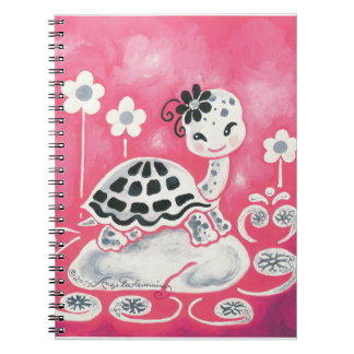 Cute Girl Turtle With Flowers And Swirls Spiral Notebooks