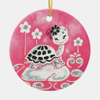 Cute Girl Turtle With Flowers And Swirls Round Ceramic Decoration