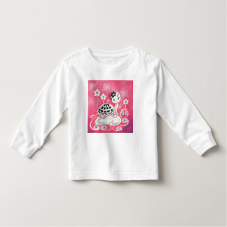 Cute Girl Turtle With Flowers And Swirls Toddler T-Shirt