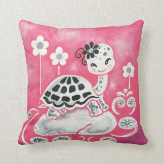 Cute Girl Turtle With Flowers & Swirls Throw Pillow