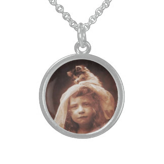 Cute Girl w Cat on Head Funny Sterling Silver Necklace