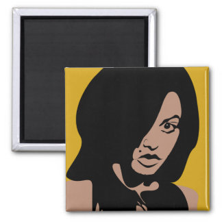 Cute Girl with Black Hair Square Magnet