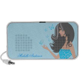 Cute girl with blue butterflies Doodle Speakers