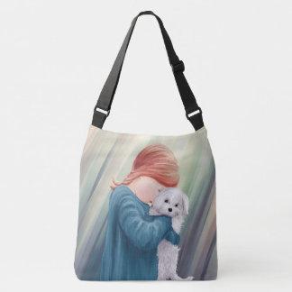 Cute Girl with Dog Crossbody Bag