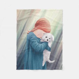 Cute Girl with Dog Fleece Blanket