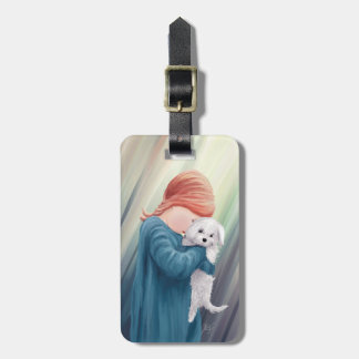 Cute Girl with Dog Luggage Tag