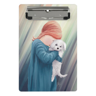Cute Girl with Dog Mini Clipboard