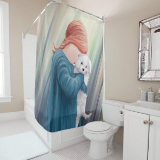 Cute Girl with Dog Shower Curtain