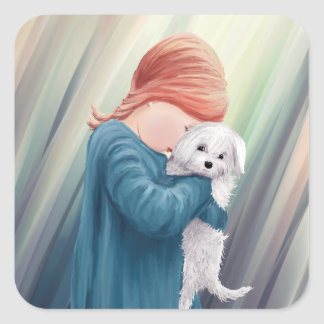 Cute Girl with Dog Square Sticker