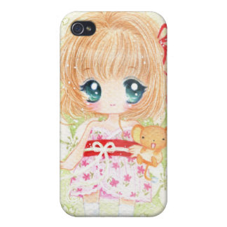 Cute girl with kawaii plushie iPhone 4 cover