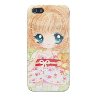 Cute girl with kawaii plushie iPhone 5 cases