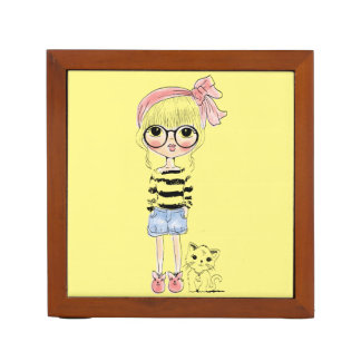 Cute Girl with Round Glasses and her Sweet Cat Desk Organiser
