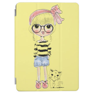Cute Girl with Round Glasses and her Sweet Cat iPad Air Cover